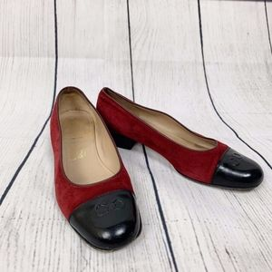 Salvatore Ferragamo Red Black  Suede Loafers 9